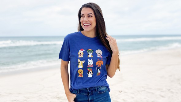 121083 christmas dogs short sleeve tee women navy slider1 original